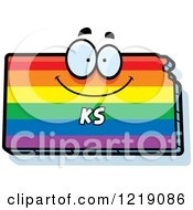 Clipart Of A Gay Rainbow State Of Kansas Character Royalty Free Vector Illustration by Cory Thoman