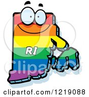 Clipart Of A Gay Rainbow State Of Rhode Island Character Royalty Free Vector Illustration by Cory Thoman