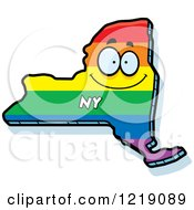 Clipart Of A Gay Rainbow State Of New York Character Royalty Free Vector Illustration by Cory Thoman