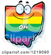Clipart Of A Gay Rainbow State Of Ohio Character Royalty Free Vector Illustration