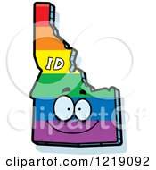 Clipart Of A Gay Rainbow State Of Idaho Character Royalty Free Vector Illustration by Cory Thoman