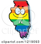 Clipart Of A Gay Rainbow State Of Illinois Character Royalty Free Vector Illustration by Cory Thoman