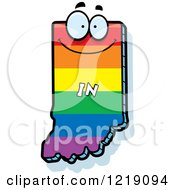 Clipart Of A Gay Rainbow State Of Indiana Character Royalty Free Vector Illustration by Cory Thoman