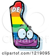 Clipart Of A Gay Rainbow State Of Delaware Character Royalty Free Vector Illustration by Cory Thoman