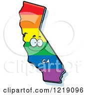 Clipart Of A Gay Rainbow State Of California Character Royalty Free Vector Illustration by Cory Thoman