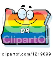 Clipart Of A Gay Rainbow State Of Oregon Character Royalty Free Vector Illustration by Cory Thoman