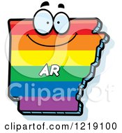 Clipart Of A Gay Rainbow State Of Arkansas Character Royalty Free Vector Illustration