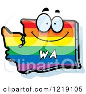 Clipart Of A Gay Rainbow State Of Washington Character Royalty Free Vector Illustration by Cory Thoman