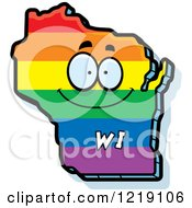 Clipart Of A Gay Rainbow State Of Wisconsin Character Royalty Free Vector Illustration by Cory Thoman