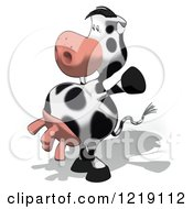 Clipart Of A Cartoon Cow Cheering And Standing Upright Royalty Free Illustration