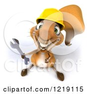 Clipart Of A 3d Squirrel Construction Worker Mascot Holding A Wrench Royalty Free Illustration