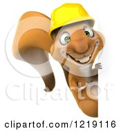 Clipart Of A 3d Squirrel Construction Worker Mascot Looking Around A Sign Royalty Free Illustration