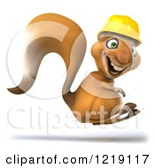 Clipart Of A 3d Squirrel Construction Worker Mascot Hopping Royalty Free Illustration
