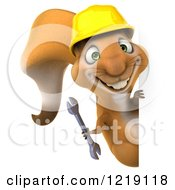 Clipart Of A 3d Squirrel Construction Worker Mascot Holding A Wrench Around A Sign Royalty Free Illustration