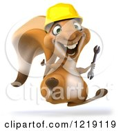 Clipart Of A 3d Squirrel Construction Worker Mascot Hopping With A Wrench Royalty Free Illustration