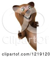 Clipart Of A 3d Bear Holding A Thumb Up Around A Sign Royalty Free Illustration