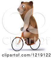 Clipart Of A Happy Brown Bear Riding A Bicycle 4 Royalty Free Illustration