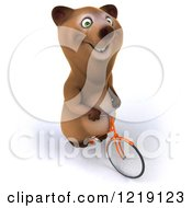 Clipart Of A Happy Brown Bear Riding A Bicycle 5 Royalty Free Illustration