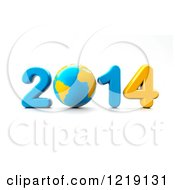 3d Blue And Yellow Year 2014 With A Globe As The Zero