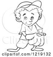 Clipart Of An Outlined Baseball Kid With His Hand In His Glove Royalty Free Vector Illustration by LaffToon