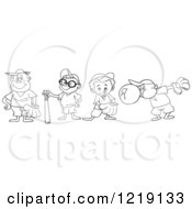 Outlined Baseball Kids With Gloves Bats And Bubble Gum