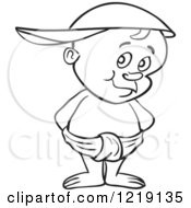 Clipart Of An Outlined Toddler Boy Wearing A Baseball Cap Backwards And Standing In A Diaper Royalty Free Vector Illustration
