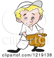 Clipart Of A Blond Baseball Kid With His Hand In His Glove Royalty Free Vector Illustration by LaffToon