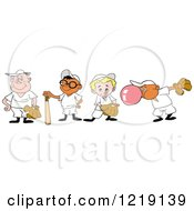 Clipart Of Baseball Kids With Gloves Bats And Bubble Gum Royalty Free Vector Illustration by LaffToon