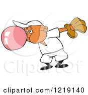 Clipart Of A Black Baseball Boy Blowing Bubble Gum Royalty Free Vector Illustration
