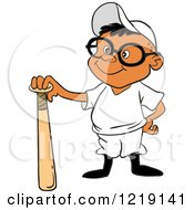 Clipart Of A Black Baseball Boy Standing With A Bat Royalty Free Vector Illustration