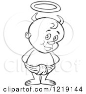 Clipart Of An Outlined Toddler Boy With Devil Horns And A Halo Standing In A Diaper Royalty Free Vector Illustration by LaffToon