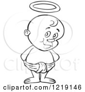 Clipart Of An Outlined Toddler Boy With Devil Horns Standing In A Diaper Royalty Free Vector Illustration by LaffToon