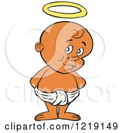Clipart Of A Black Toddler Boy With A Halo Standing In A Diaper Royalty Free Vector Illustration