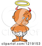 Clipart Of A Black Toddler Boy With Devil Horns Standing In A Diaper Royalty Free Vector Illustration