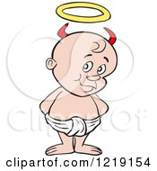 Clipart Of A White Toddler Boy With Devil Horns Standing In A Diaper Royalty Free Vector Illustration by LaffToon