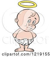 Clipart Of A White Toddler Boy With A Halo Standing In A Diaper Royalty Free Vector Illustration by LaffToon