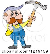 Clipart Of A Caucasian Carpenter Man Holding Up A Hammer And Tugging On His Overalls Royalty Free Vector Illustration