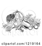 Clipart Of Black And White Woodcut Harvest Vegetables Royalty Free Vector Illustration