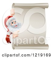 Clipart Of Santa Pointing Around A Scroll Sign Royalty Free Vector Illustration