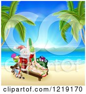Clipart Of Santa Holding A Cocktail And Sun Bathing On A Tropical Beach With Items Royalty Free Vector Illustration