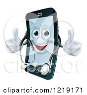 Clipart Of A Happy Smart Phone Wearing A Stethoscope And Holding Two Thumbs Up Royalty Free Vector Illustration