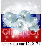 Clipart Of A 3d 2014 And Fireworks Over A Russian Flag Royalty Free Vector Illustration