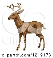 Clipart Of A Pixelated Reindeer Or Buck Royalty Free Vector Illustration