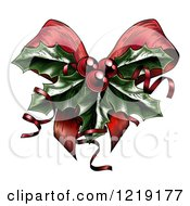 Clipart Of A Sprig Of Christmas Holly With Red Berries And Curly Ribbons Over A Bow Royalty Free Vector Illustration by AtStockIllustration
