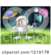 Clipart Of An Astronaut Planting An Earth Flag On A Foreign Planet Royalty Free Vector Illustration by AtStockIllustration