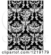 Clipart Of A Black And White Seamless Vintage Damask Pattern 3 Royalty Free Vector Illustration