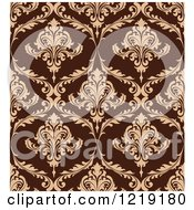 Clipart Of A Brown Seamless Vintage Damask Pattern Royalty Free Vector Illustration