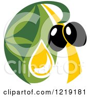 Clipart Of A Black Olive And Oil Design 5 Royalty Free Vector Illustration
