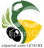 Clipart Of A Black Olive And Oil Design 4 Royalty Free Vector Illustration