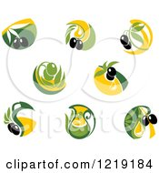 Clipart Of Green And Black Olive And Oil Designs Royalty Free Vector Illustration